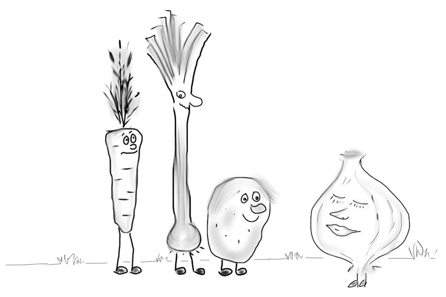 Gunzemännchen - Gemüsesuppe mit Grießklösschen